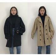全2色 コート 体型カバー 無地 ダブルブレスト シンプル