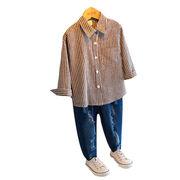 秋服 キッズ洋服 男児 長袖シャツ ストライプス 何でも似合う 韓国風 着やせ ボトムシ