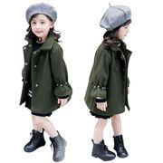 気質 小中児童 冬服 外套 女 赤ちゃん 単一色 手厚い シングル列ボタン 羊毛の アウ