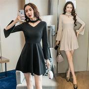 Fashions、2019新品 韓国ファッション  CHIC気質  セクシー   スリム ドレス  2色 宴会場 結婚式 二次会