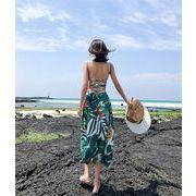 春に入る前の準備 個性的なデザイン 韓国ファッション 新品  背透けて   グリーンフローラルドレス