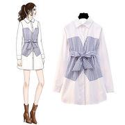 新作追加  高品質で  正規品  韓国ファッション CHIC気質 春  新  偽 ツーピース シャツ  女性