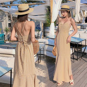 春に入る前の準備 Fashions 2019新品 韓国ファッション  CHIC気質  海辺スリムチェック柄ワンピース