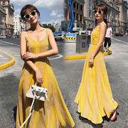 2019年冬新製品発売 春の新商品 韓国ファッション  新しいスリングプリントスリットストライプドレス