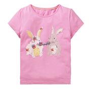 北欧柄 キッズ 半袖Tシャツ ウサギ