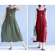 【春夏新作】ファッション/人気ワンピース♪ダークアカ/カーキ/ダークグリーン3色展開◆