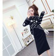 高品質で 2セット 韓国のファッション 星柄 プリント  セーター+スプリット  ニット パックヒップ スカート