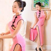 【即日出荷】ピンク ロング丈 チャイナドレス コスプレ衣装【3127】