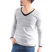 【2019春夏新作】 長袖Tシャツ メンズ 長袖 Vネック レイヤード 無地 春 夏 ロンT カットソー