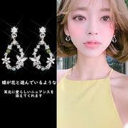 一部即納 レディース 花 蝶 モチーフ ピアス  キラキラ ダイヤモンド 光る ファッション アクセサリー