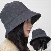 医療用帽子 オーガニックコットン レディース サイズ調節できる デニムクロッシェ
