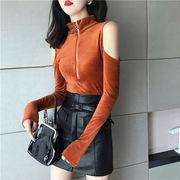 女性美up 韓国ファッション ワイルド  ネックジッパー タートルネック オフショルダー ボトミングシャツ