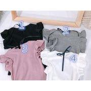 ★春夏新作★キッズ 女の子 トップス Tシャツ シンプルデザイン 4色お揃い