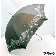 【雨傘】【長傘】パイピンク&ステッチパリの街並み柄細巻軽量ジャンプ傘