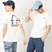 【2019春夏新作】メンズ バイオウォッシュ加工 パームツリー 刺繍 半袖 ポケット Tシャツ
