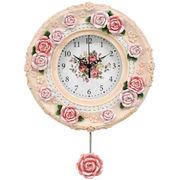 <AMANO>【掛時計】ローズ振り子掛時計・ピンク