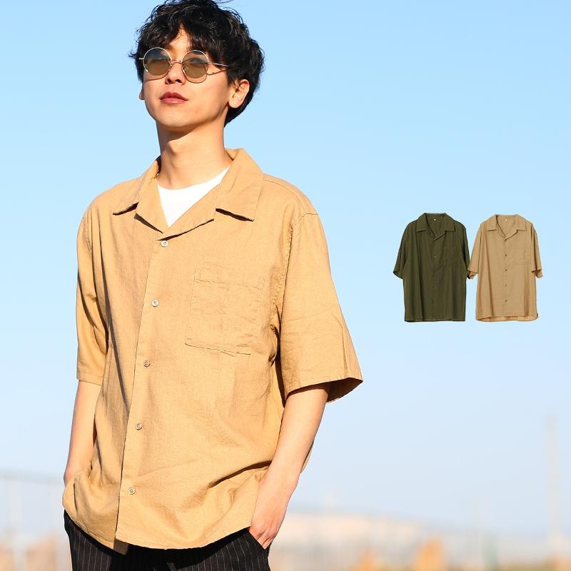 【2019春夏新作】メンズ 麻混 リネン 半袖 オープンカラー 開襟 シャツ