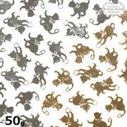 50g 【40個以上】 双子のネコのシルエットチャーム 2色ミ ックスアソートセット【DecoFactoryオリジナル】