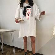 初回送料無料 2019ゆったり プリント 半袖 Tシャツ 大人気 全2色 mjpzn-1903b16069