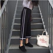 春夏 韓国風 新しいデザイン おしゃれ 百掛け バイカラー 中腰 ワイドパンツ 九分丈パンツ ゆったり 気質