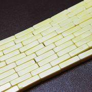 パーツ 素材 連 アゲート スクエア チューブ 2×8mm パステルイエロー  品番: 11140