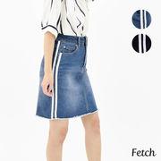 【2019春夏新作】2本ラインテープ使いデニムスカート
