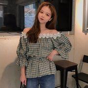 第1 番 ピープル ホーム 女性服 韓国風 一 言葉 肩 伸縮性 レース グリッド 半袖