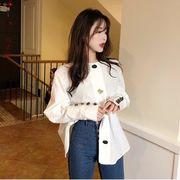 春服 新しいデザイン 女 韓国風 後 背 引きひも ひもあり ワイシャツ ファッション