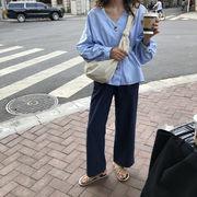 ハン 風 夏 新しいデザイン ルース 襟 ウエストマーク ストライプス パフ シャツ ゴ