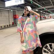 春夏新商品730647 大きいサイズ 韓国 レディース ファッション Tシャツ ワンピース  LL-4L