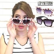 リップ柄プリントサングラス 眼鏡 メガネ UVカット 小物 パーティー  唇柄