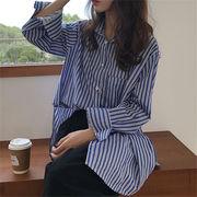 春に入る前の準備 韓国ファッション  CHIC気質 ゆったり ストライプ柄 長袖 シャツ 大人気  春冬 新作