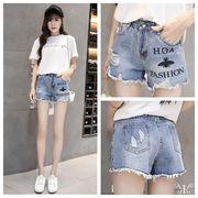 【即納730595】大きいサイズ 婦人服 日韓風 刺繍 ジーパン パンツ デニム 3L 4L 5L 6L