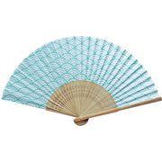 日本の伝統柄扇子 青海波(すす竹)