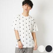 Tシャツ メンズ レディース カットソー 半袖 クルーネック スター 星 ロゴ プリント 総柄 トップス