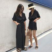春夏 ガールフレンド 新しいデザイン 女性服 アンティーク調 ポルカドット 引きひも ひ