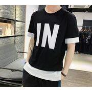 フェイクレイヤー メンズ半袖カットソー バイカラーtシャツ