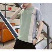 配色 半袖Tシャツ メンズトップス 夏カットソー