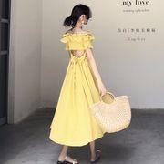 ファッション 女性服 新しいデザイン 優しい アンティーク調 フラットネック 背中開き