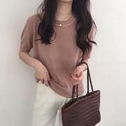 韓国風 春夏季 新しいデザイン 丸襟 単一色 何でも似合う 中袖 ルース 着やせ ヘッジ