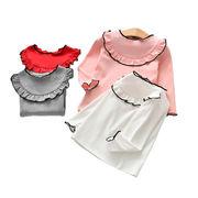 春秋 スタイル 洋室 女児 長袖Tシャツ 小中児童 単一色 アウトドア ボトムシャツ 赤