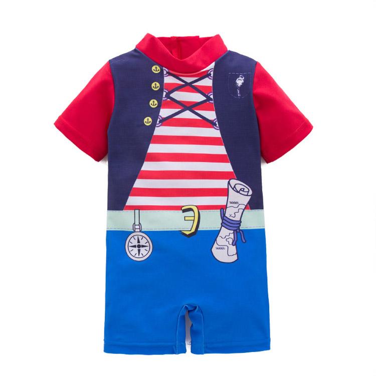 格安!欧米INS子供服◆2T-3T-5T-6T選択可◆ボーダー柄◆ワンピース水着◆男の子◆ロンパース