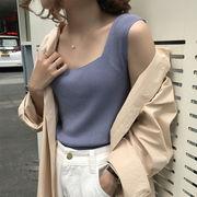 ストラップ ノースリーブ キャミソール 女 インナー 春夏 短いスタイル 韓国風 着やせ