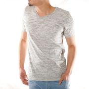 【2019春夏新作】 半袖Tシャツ メンズ テレコ Vネック 杢 カットソー 杢 赤 白 黒 青 厚手 ランダムテレコ