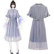 【大きいサイズXL-5XL】ファッションワンピース♪アンズ/ブルー2色展開◆