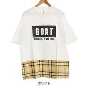 【2019春夏新作】20/-OE天竺 半袖 裾チェック切替Tシャツ(エンボスBOXロゴ)