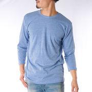 【2019春夏新作】 7分袖Tシャツ メンズ クルーネック 杢 無地 白 黒 グレー 紺 ピンク 青 緑 紫 ブラウン