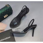 【春先行即納SALE 】 今季トレンド 韓国ファッション リベット スティレット  ブラック サンダル