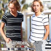 improves マルチパターン ボーダーTシャツ