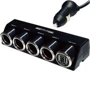 カシムラ 4連セパレートソケット USB2ポート 4.8A(ブラック)